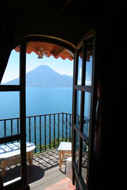 View of Lake Atitlan, Guatemala from El Casa del Mundo in Jaibalito