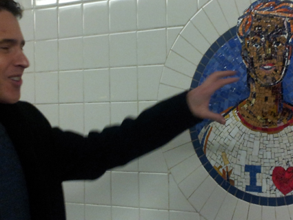 Darryl pointing out graffiti at 8th Street Station