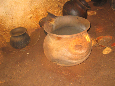 Mayan Pottery where it was found - Chechem Ha cave, Belize 2005