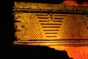 Maya ruin at Uxmal at night