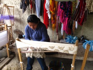 Ikat dying and weaving process