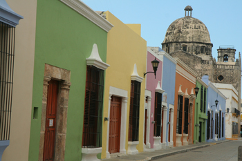 Colorful colonial houses, Campeche
