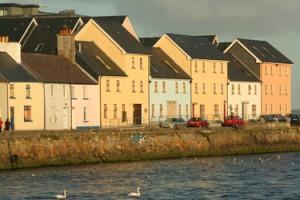 Claddagh houses on Irish coast
