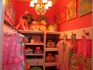 Colorful closet with Lily Pulitzer kid's clothes