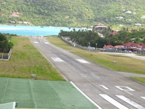 St. Barts airport runway, with sea
