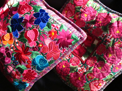 Colorful Mexican Yucatan Embroidered Pillows