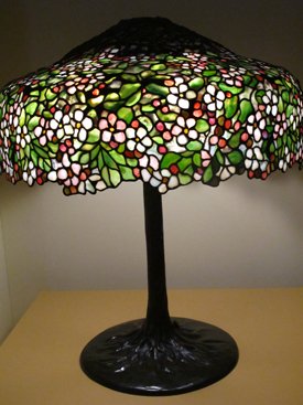 Leaded glass Tiffany lamp with apple blossoms