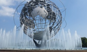 World's Fair Unisphere with fountains