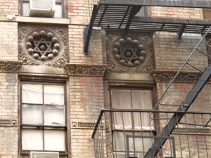 Lower East Side building facade with Jewish stars
