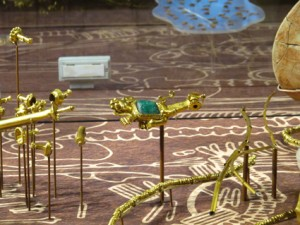 Detail of exhibit - ornate gold beads and pendant