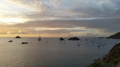 View of boats moored off St. Barthelemy