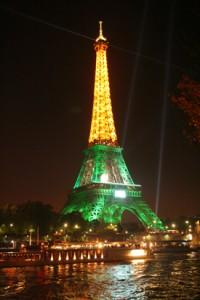 Eiffel Tower alit from across Seine