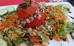 Shrimp salad stuffed in a tomato