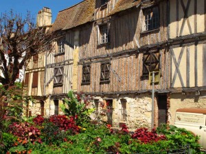 Half timbered buildings in Bergerac France