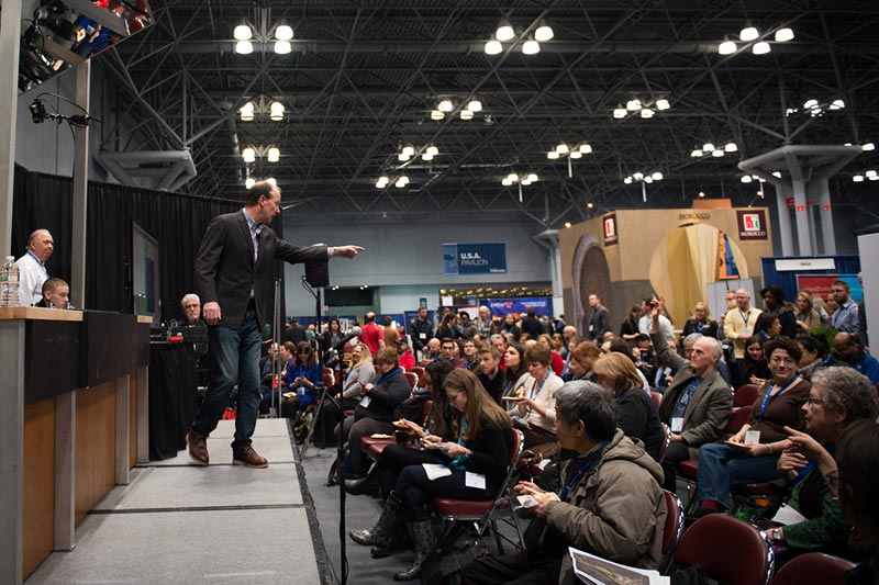 Speaker and engaged audience at NY Times Travel Show