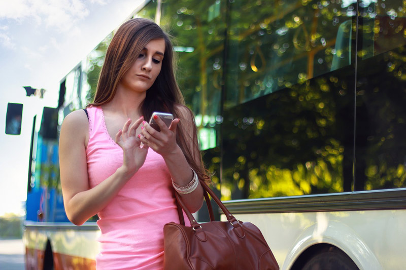 Woman using smart phone